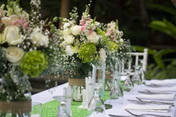 Table setting for Tropical Bali wedding
