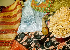 Array of traditional Indonesian textiles