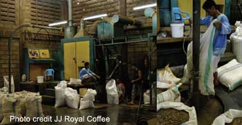 roasting coffee in Indonesia