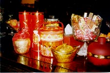 An assortment of traditional sweets for guests