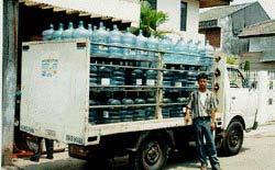 Bottled water delivery in Indonesia