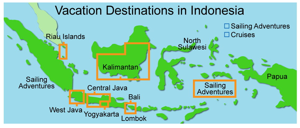 Indonesian holiday destination map