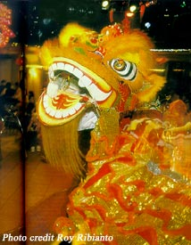 Barongsai, the Lion Dance, performed throughout the New Year season