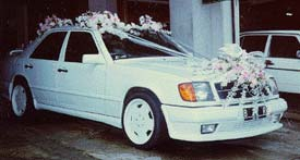 Indonesina wedding customs - decorate car for the bridal couple