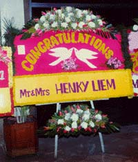 Congratulations wedding flower display in Indonesia