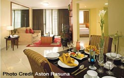 Dining and Living area at Aston Rasuna