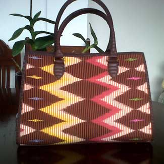 Purses made from traditional Indonesian textiles
